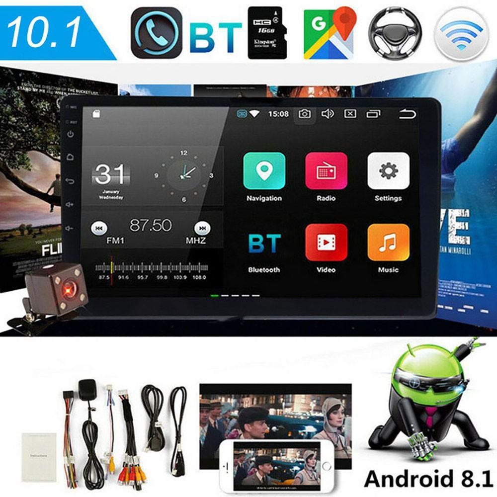 M 5-10 . 1 นิ้ว Android 8 . 1 Quad Core 2 Din เครื่องเล่นวิทยุสเตอริโอ Gps Wifi Mp 5 + กล้องมองหลัง 4 Leds สําหรับติดรถยนต์