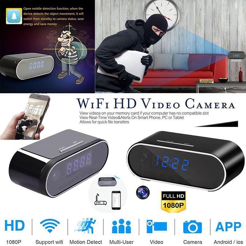 HD 1080P WiFi Hidden Spy Camera Alarm Clock Night Vision Motion Detection