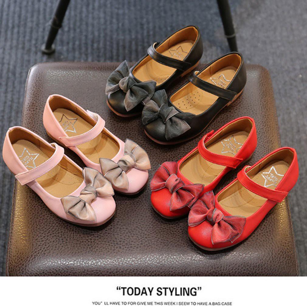 🌱kittyhome🌱แฟชั่น คัชชูโบว์  คัชชูหนังนิ่ม รองเท้าหนังนุ่ม PU สำหรับเด็ก