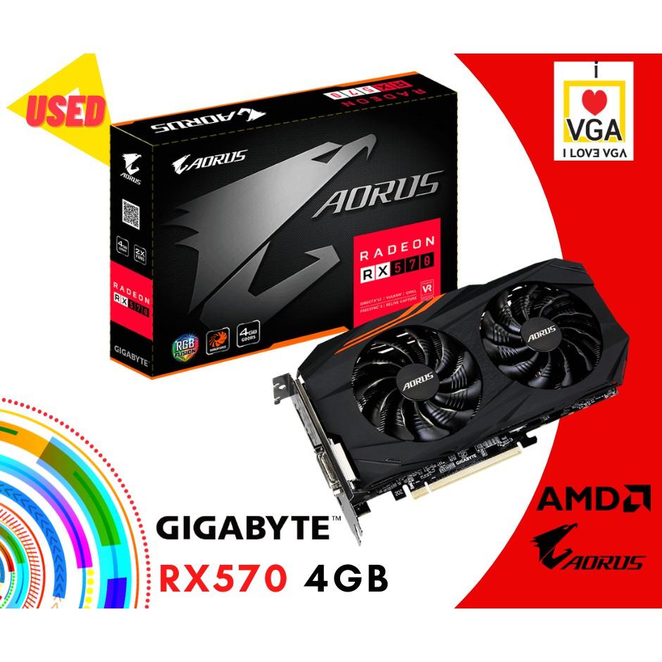 การ์ดจอ Gigabyte Aorus RX570 4GB 2F (ประกันร้าน 30 วัน)