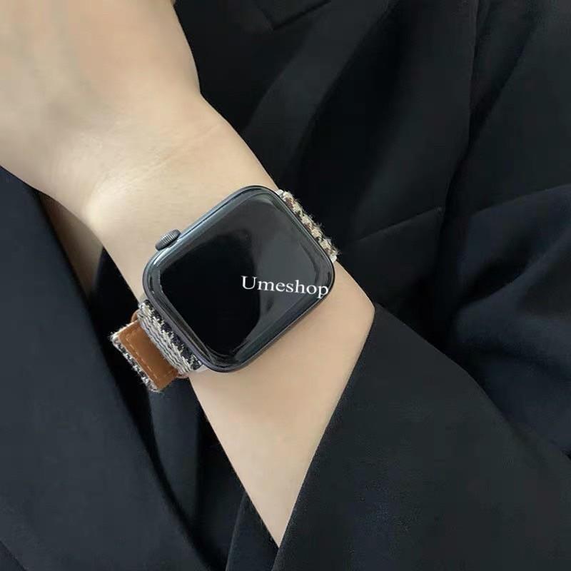 ✖สายนาฬิกา สายสำหรับ AppleWatch series 1/2/3/4/5/6 SE  38/40/42/44mm สาย W55 /W56 X6 pro Max p90 watch 5 สายหนัง+ผ้า