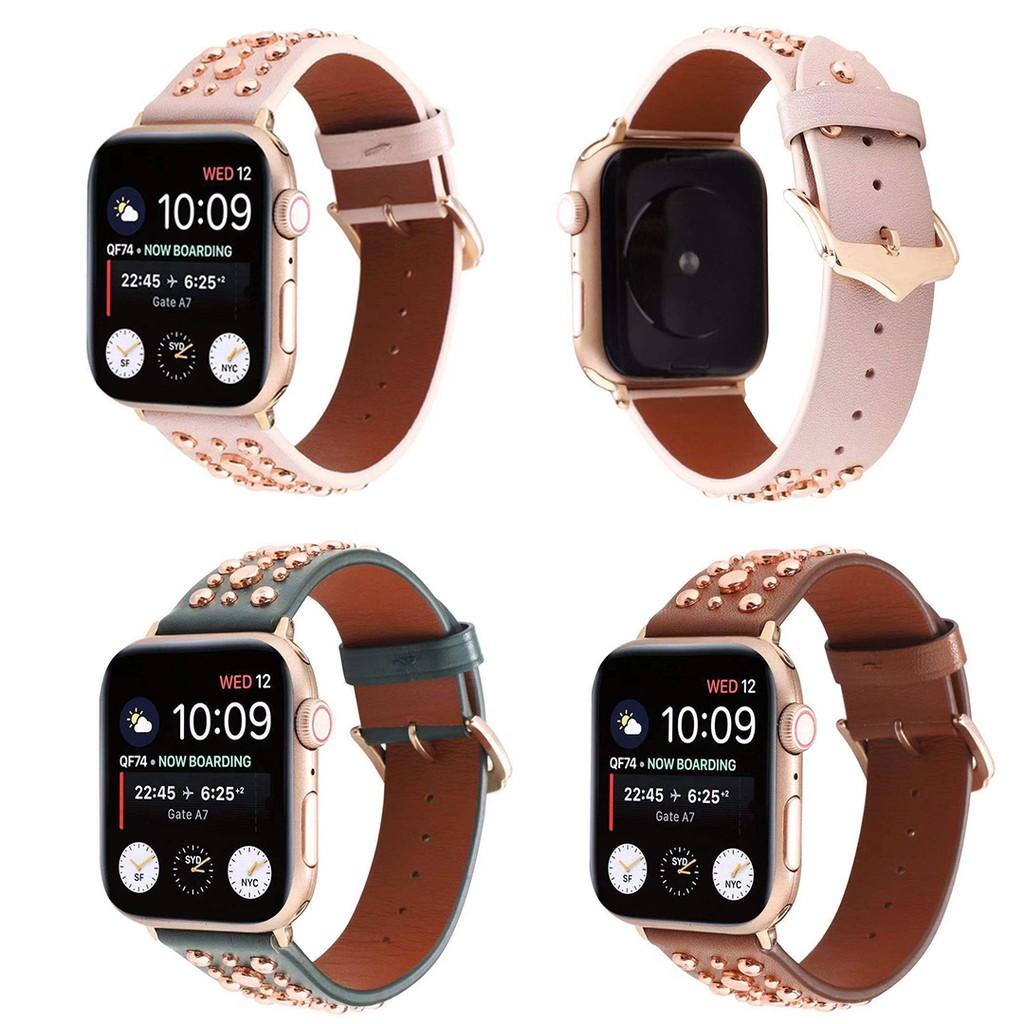 ใช้ได้กับ Apple Watch iwatch2 / 3/4 Generations Leather Willow Nail Strap Series 5 Color Nail Strap