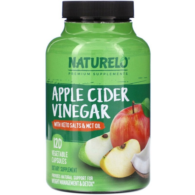 New🔥PreOrder✨ NATURELO, Apple Cider Vinegar with Keto Salts & MCT Oil, 120 Vegetable Capsules