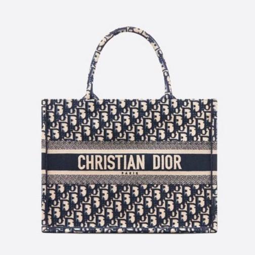 Dior Book Tote Oblique Canvas Bag  Blue/White