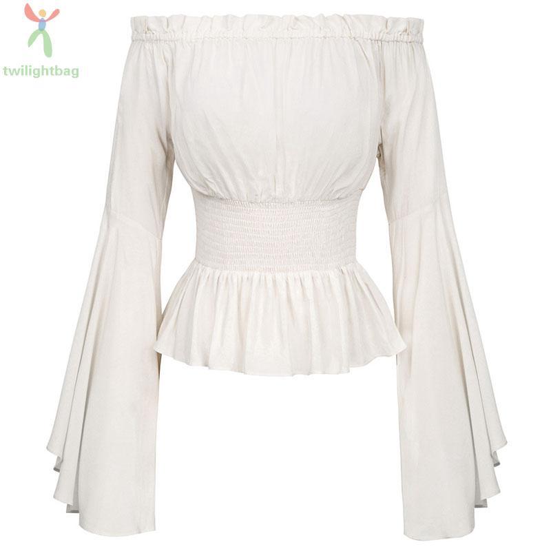 Shirt Blouse Tops Chemise Halloween Medieval Renaissance Ladies Off shoulder
