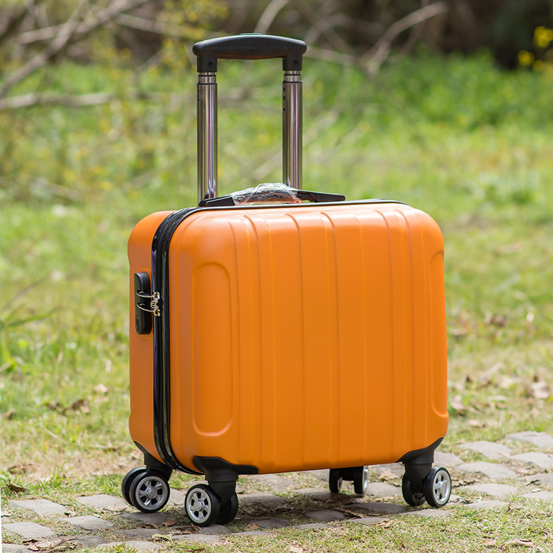 กำหนดเองLOGO16นิ้วกระเป๋าเดินทางหญิงขนาดเล็กดึงคันกระเป๋าเดินทางล้อสากล18กล่องหนังมินินิ้วชาย