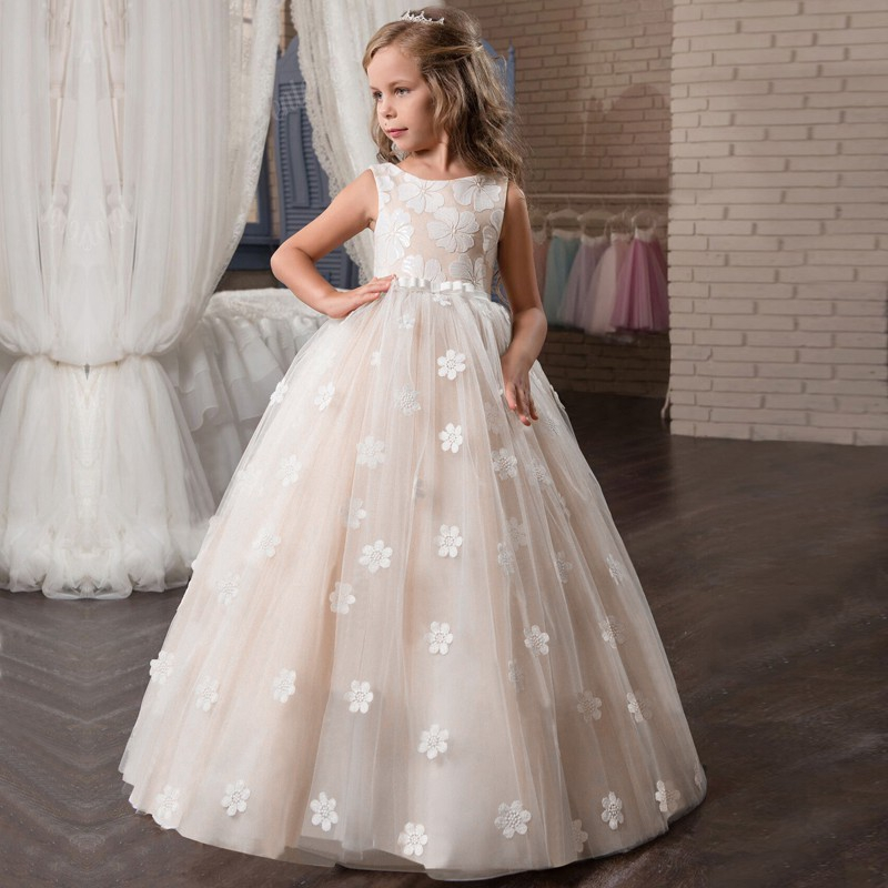 Toddler Kids Baby Girl Flying Sleeve Tulle Party Bridesmaid Pageant Dress