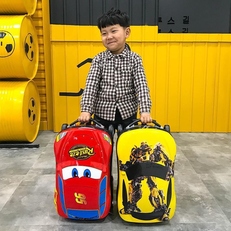 ✹☢✉McQueen กระเป๋าเดินทางเด็ก 18 นิ้วรถเข็นกระเป๋าเดินทางรถกระเป๋ามัลติฟังก์ชั่กลางแจ้งกระเป๋าเดินทางกระเป๋าเดินทางที่ว