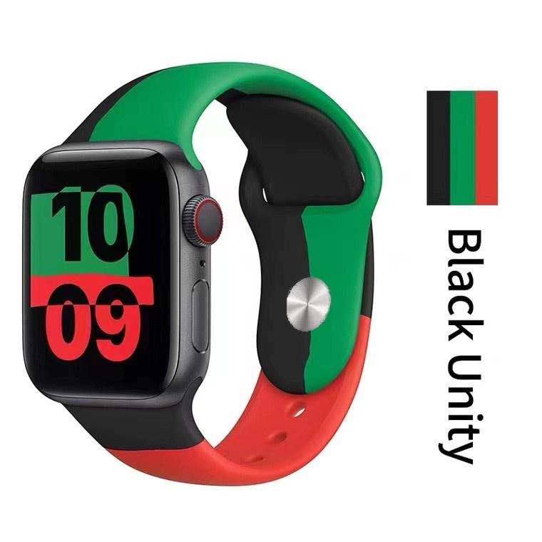 สาย applewatch สายนาฬิกา applewatch สาย Black Unity new apple watch strap iWatch series 6/SE/5/4/3/2/1 silicone band ขนา