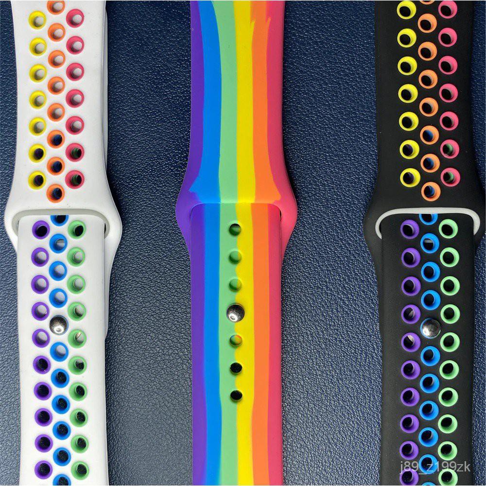 [ส่งเร็ว สต๊อกไทย] สาย Apple Watch Pride Edition สายสีรุ้ง applewatch Sport Series 6 SE 5 4 3 ตัวเรื่อน 38 40 42 44 mm E