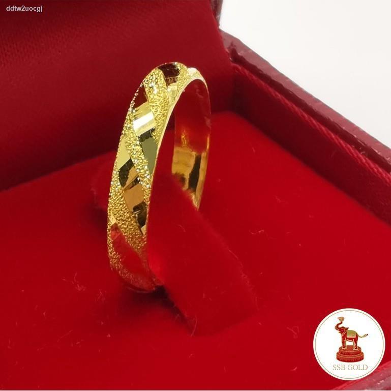 ราคาต่ำสุด■✱❁แหวนทอง 1 กรัม ทองแท้ 96.5% ลายตัดลายรอบวงเส้นทแยง [ถูกที่สุด]