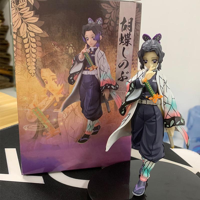 17cm Japan Anime Demon Slayer Kimetsu No Yaiba Kochou Shinobu PVC Action Figure Toy UMdg