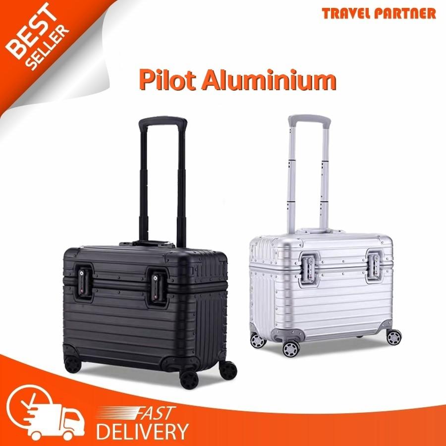 """ใหม่ กระเป๋าเดินทางขนาด กระเป๋าเดินทางล้อลาก Pilot Aluminium  16"""" 21"""" อลูมิเนียม 100%"""