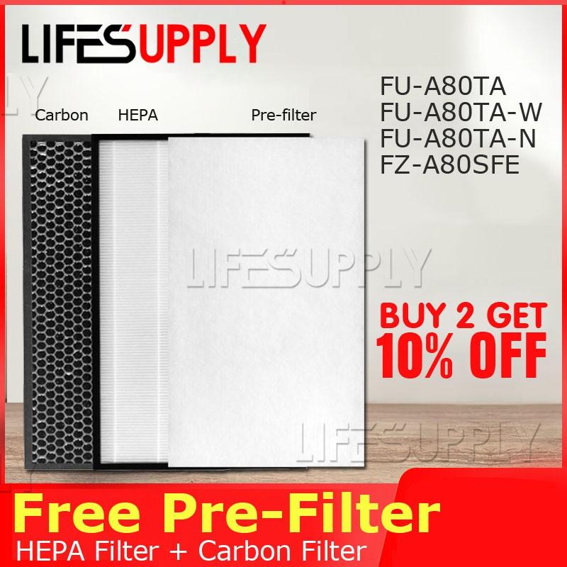 ชุดแผ่นกรอง HEPA  สำหรับ เครื่องฟอกอากาศ Sharp FZ-A80SFE FU-A80-W /FU-A80A / FU-A80A-W Air Filter FU-A80TA-W / N