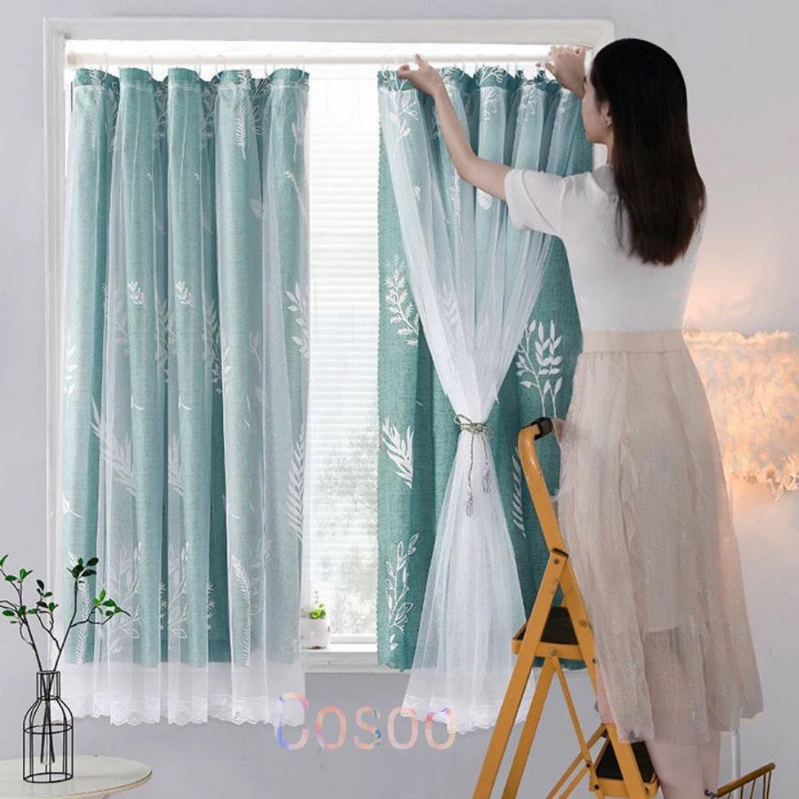 ผ้าม่านหน้าต่าง ผ้าม่านประตู ม่าน 2 ชั้น กันแดด ผ้าม่านสำเร็จรูป ตาไก่