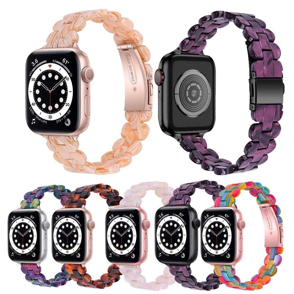 สายนาฬิกาข้อมือเรซิ่นสําหรับ Apple Watch Se 40 มม. 44 มม. สําหรับ Iwatch 6 5 4 Applewatch 3 42 มม. 38 มม. FyCB