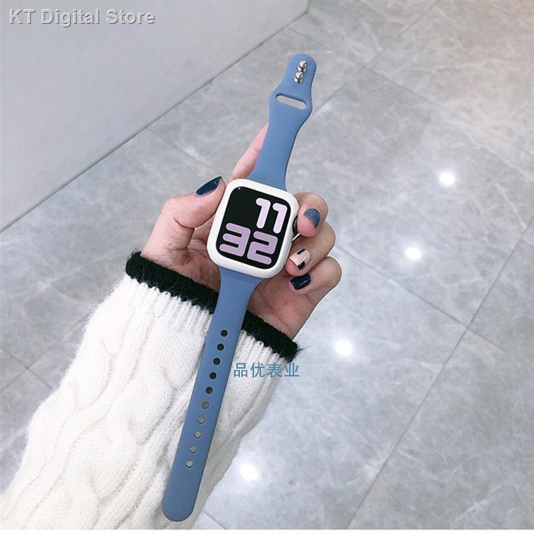 【อุปกรณ์เสริมของ applewatch】ↂ✼❏ใช้ได้กับสาย Apple Watch 6SE ซิลิโคนกีฬา iwatch เคส applewatch543 สายแบบบาง