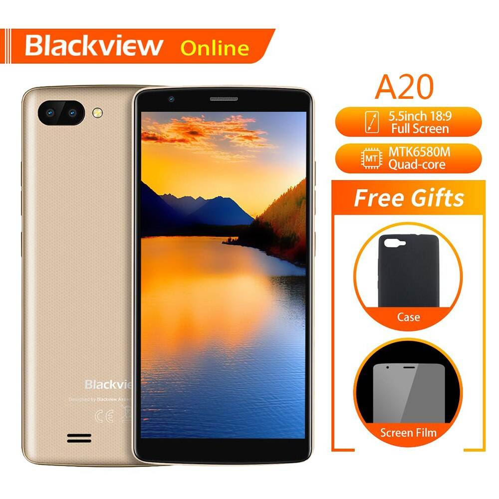 "Blackview A20 สมาร์ทโฟน 5.5 ""1GB + 8GB MTK6580M Quad-Core Android GO 18: 9 หน้าจอ 3G Dual SIM"