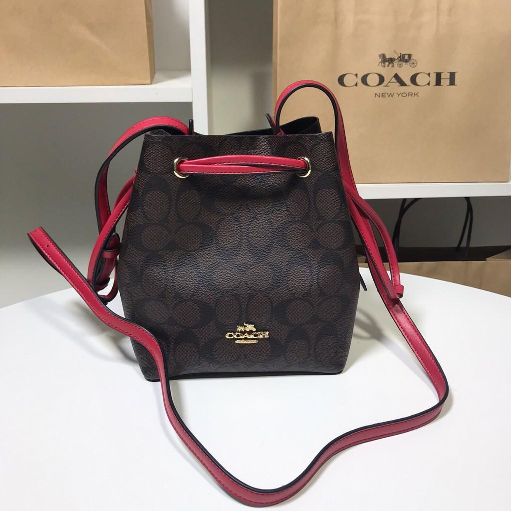 [Coach Flagship Pavilion] COACH 83856 Ladies C-pattern drawstring bucket bag กระเป๋าสะพายข้างแนวทแยงมุมซื้อจากอเมริก