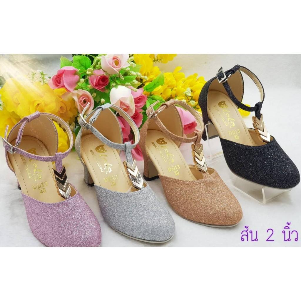 รองเท้าคัชชูสำหรับเด็กผู้หญิงรองเท้าแฟชั่นน่ารักใส่สบายมี4สีให้เลือกไชส์31-36