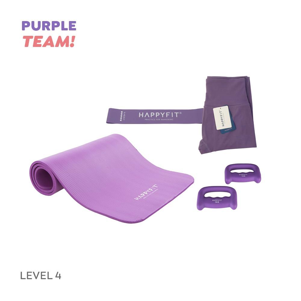 Happyfit Bundling Purple Team - Level 4 (yoga Mat / ยางยืดรัดต้านทาน) อุปกรณ์ออกกําลังกาย