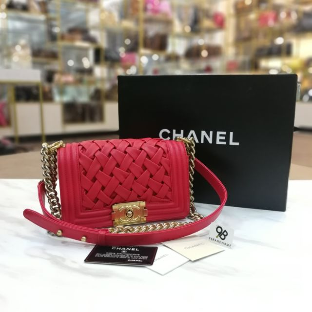 "Used - Chanel Boy​ Limited​ Mini​ 8"" Calf Red GHW"