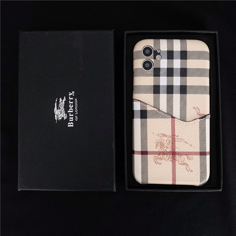 Burberry shell Apple iPhone 12 7plus 7 8 plus X XS XR XSMAX luxury brand soft phone case 11 PRO MAX card cover