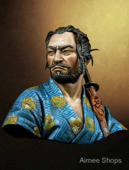 Unpainted Kit 1/10  Japanese samurai ancient soldier  bust    figure Historical  Resin Figure miniature garage kit 3sic