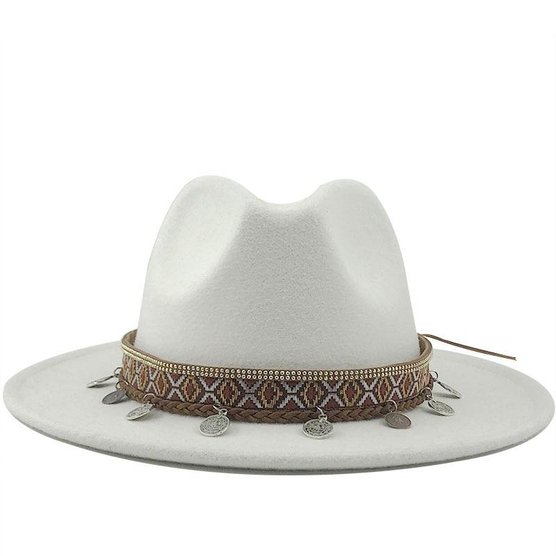 Adjustable Stylish Women Fedora Hats 18 Solid Colours Women Men Lady Wool Vintage Gangster Fedora Hats Jazz Caps with Wide Brim Gentleman