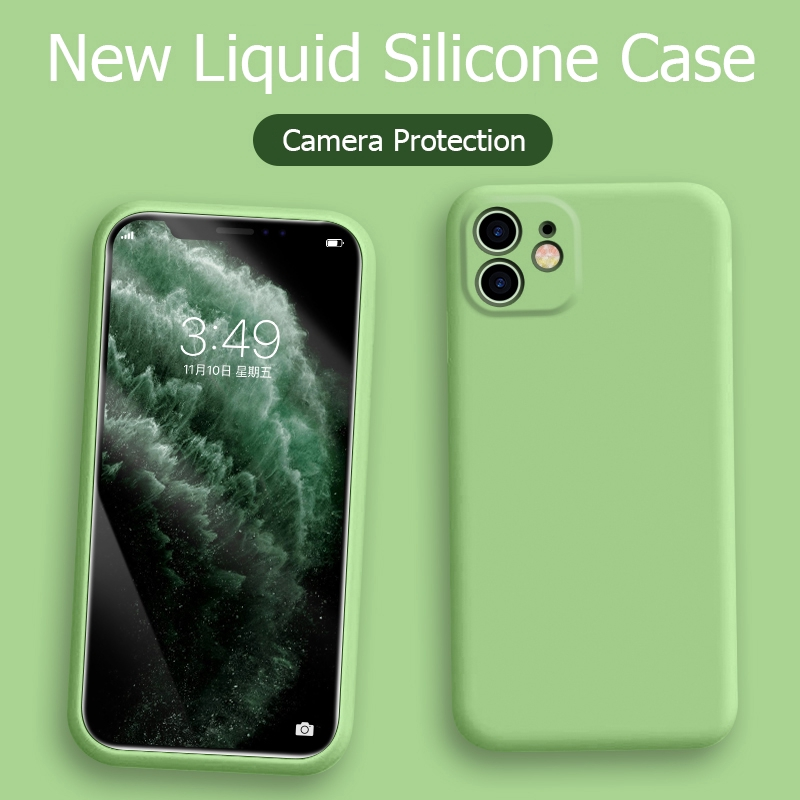 iPhone 11 Case Liquid Silicone Matte Soft Cover For Apple iPhone 11 Pro Max SE Flexible Shockproof Phone Case Midnight Green