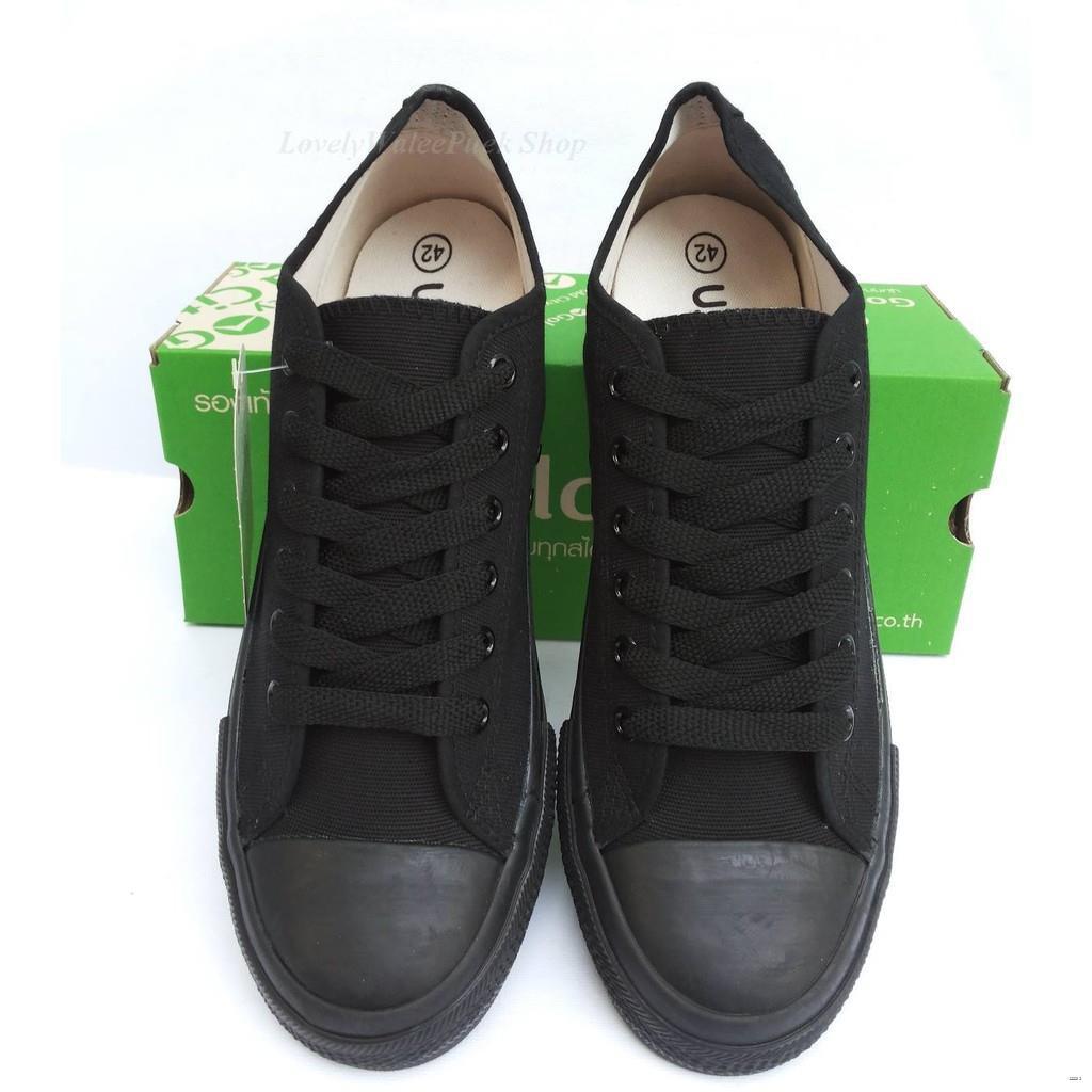 ยางยืดออกกําลังกาย✓∏Gold City สีดำดำ (สีดำล้วน) รองเท้าผ้าใบ ใส่ทน Size 36-47