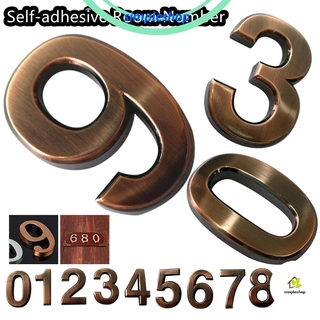 Review ❀SIMPLE❀ 1 PC 3D Room Number Waterproof Door Plates Digits Sticker Bronze ABS Plastic Self-adhesive Numeral  0-9 Address Sign/Multicolor
