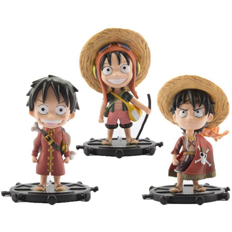 3 One Piece Luffy Garage Kit Large Straw Hat Cute Doll Car Cake Decorations and Ornaments Animation Model Toy Figure Gif