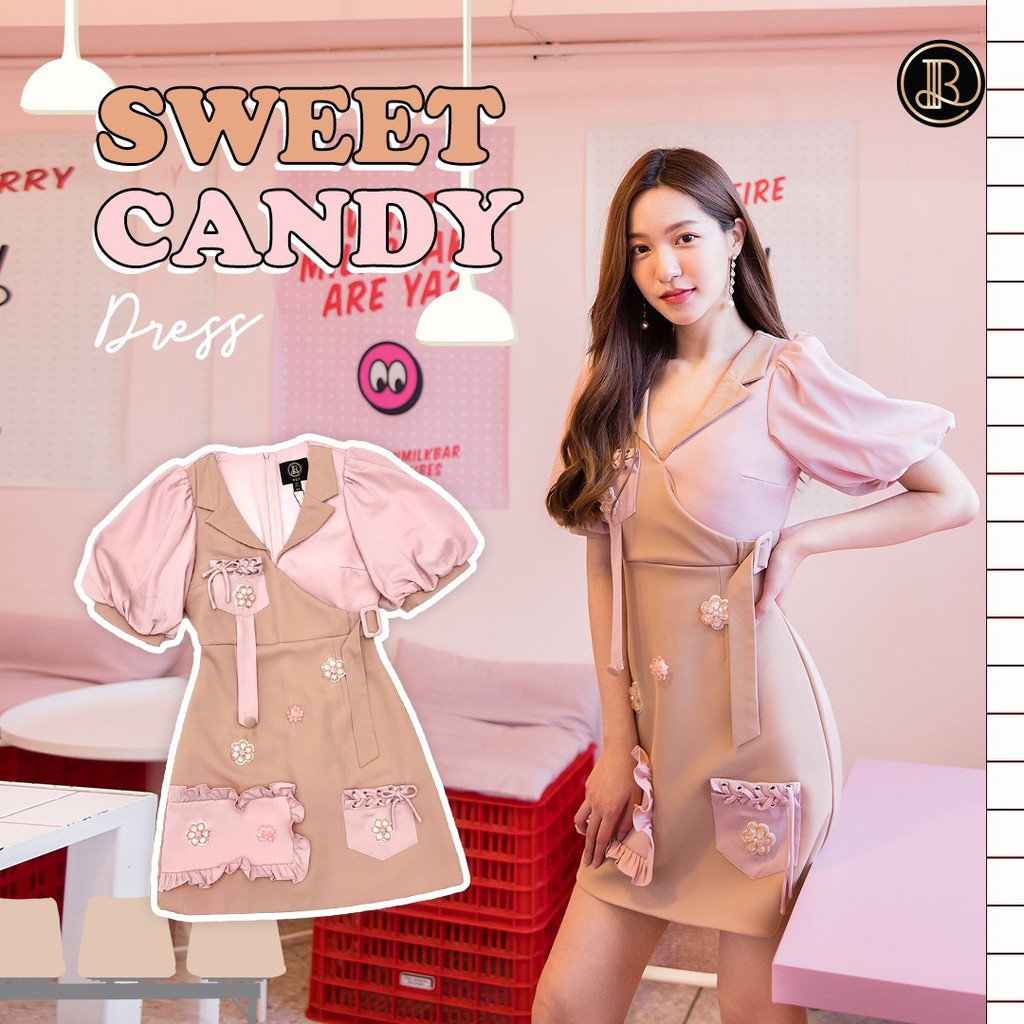 BLT BRAND การันตีเสื้อผ้าแบรนด์แท้ มินิเดรส สีชมพูน้ำตาลอ่อนกระเป๋าใช้ได้จริง SWEET CANDY