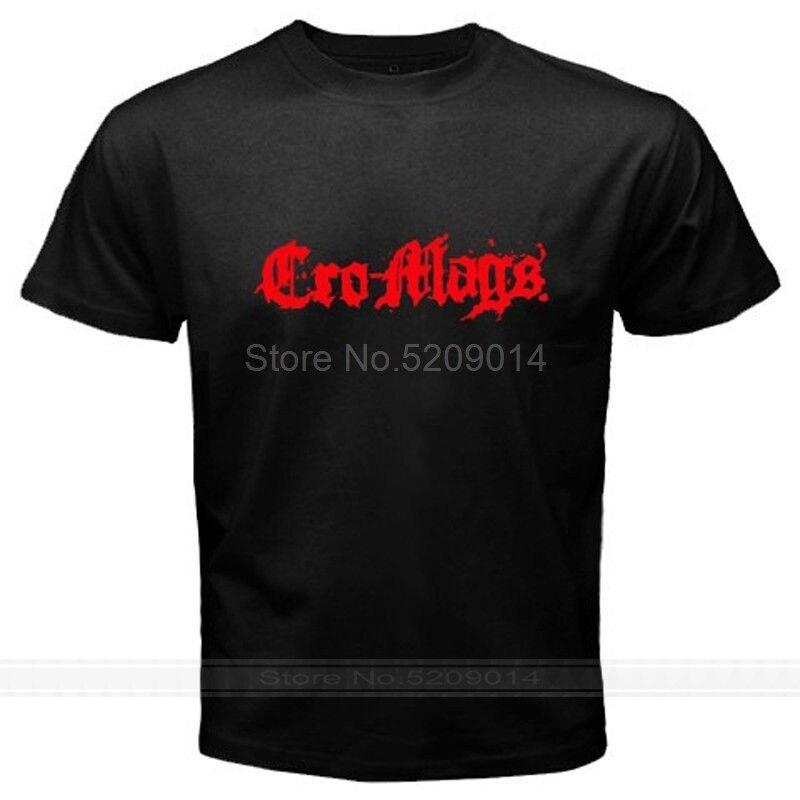 เสื้อยืดคอกลมแขนสั้นพิมพ์ลายโลโก้ Cro -Ags Cro Mags สําหรับผู้ชาย