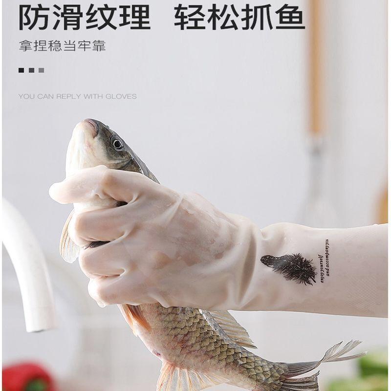ถุงมือล้างจานทนทานจานหญิงยางกันน้ำยางถูครัวซักผ้างานบ้านพลาสติกทำความสะอาดน้ำยาล้างจานชาย