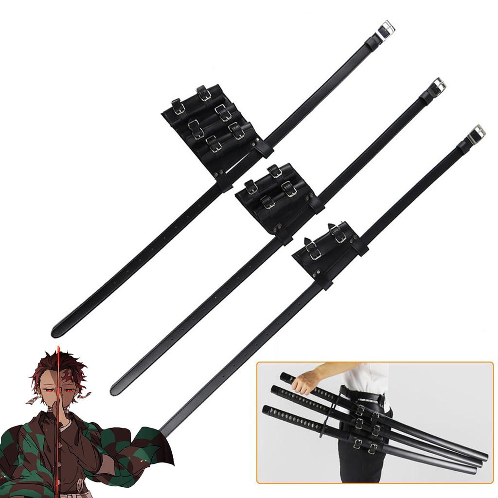 COS QUEEN 1pcs Anime Demon Slayer Kimetsu No Yaiba Cosplay Costume sword Shinobu Tanjirou Zenitsu Kanao Sword PU เข็มขั