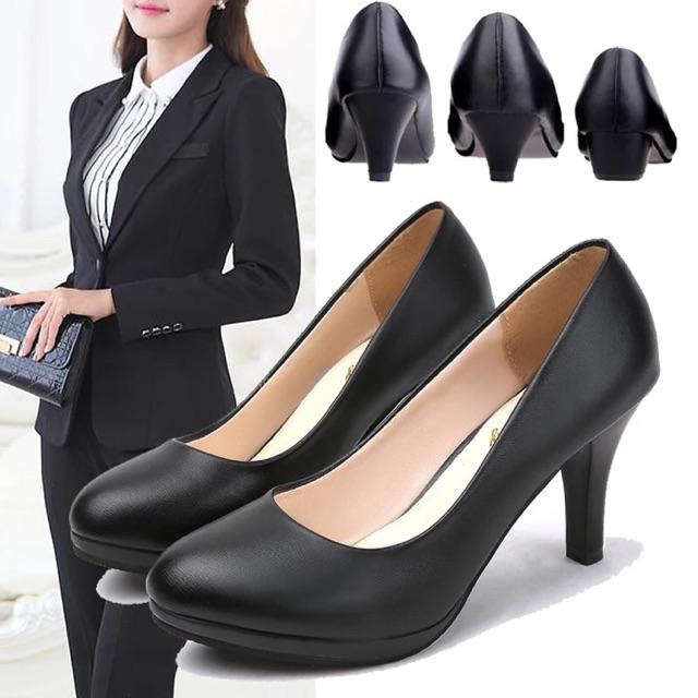 BaoBaoshop-481903 รองเท้าคัชชูผู้หญิง ส้นสูงสีดำ รองเท้าทำงาน