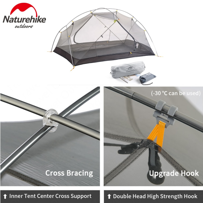 Please COD Naturehike Mongar 2 Camping Tent 2 Person 1.8kg 20D Nylon Fabric Double Layer Tent Camping 3000mm Waterproof