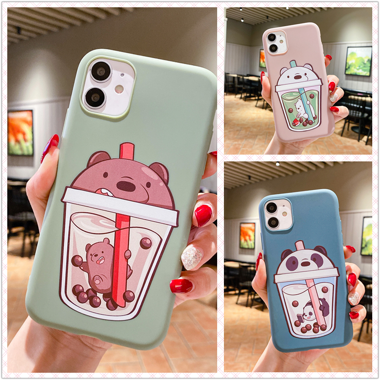 เคส Samsung J8 J7 J6 J6+ J5 J4 J4+ J2 M31 M20 A9 A7 A6 A6+ Plus Pro Prime 2018 Straw Cup Bear Soft Case