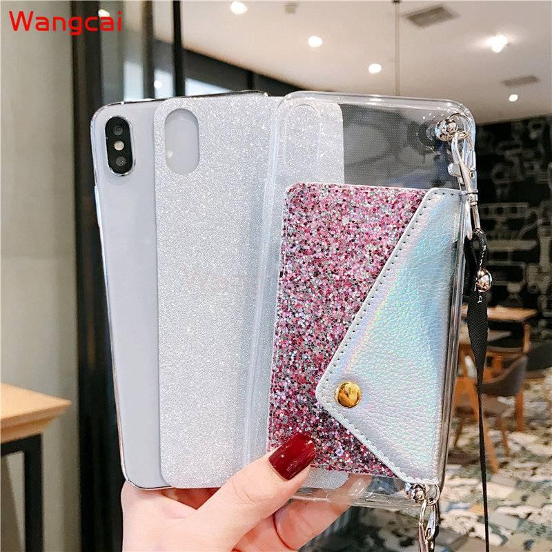 ♞Samsung Galaxy A2 Core A8 A9 Star A6 + A6 Plus 2018 C9 C7 C5 Pro กระเป๋าใส่นามบัตร Glitter Bling Lanyard TPU Case Cover