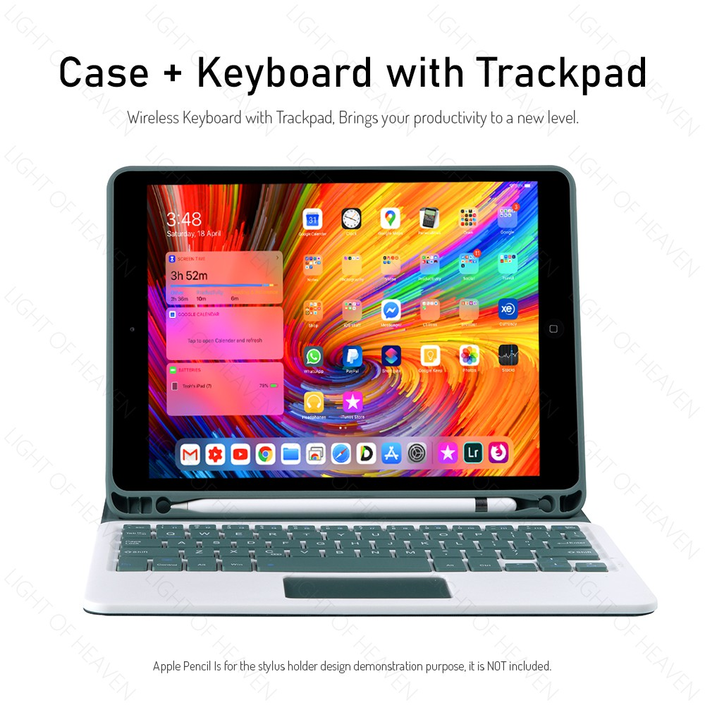 iPad Air 4 10.9 2021 10.2 Air 3 Pro 10.5 2019 case Bluetooth keyboard trackpad stand flip cover with apple pencil holder