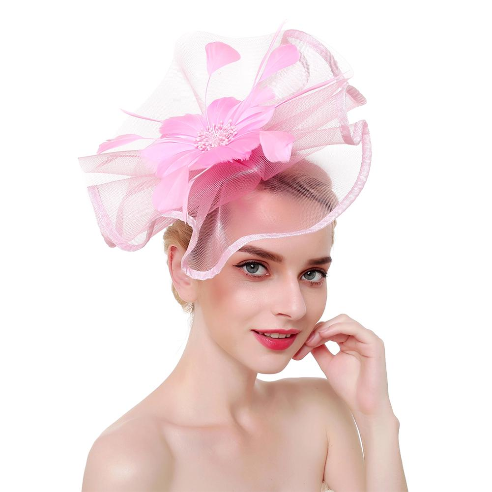 Black Big Flower Mesh Feather on Hair Clip Headwear Fascinator,Wedding Headwe...