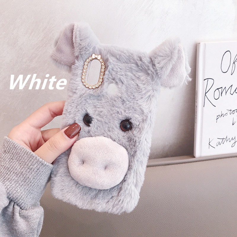 Samsung A7 2018 A9 2020 J4 2018 J6 Plus Cute piggy plush phone caseSamsung C9 Pro A6 Plus 2018 A8 Plus 2018