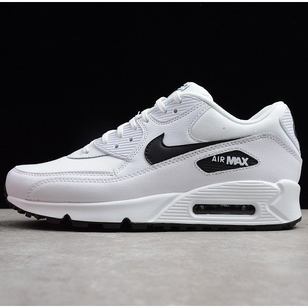 original สีใหม☾▤Ready stock ลดราคา nike air max 90 all white leather men and women running shoes low tops Air cushion