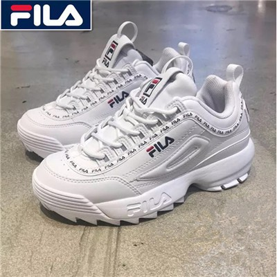 Fila Disruptor II รุ่นที่ 2 ใช้แพลตฟอร์มรองเท้าวิ่งขนาดใหญ่สีขาว รองเท้าผ้าใบ FILA