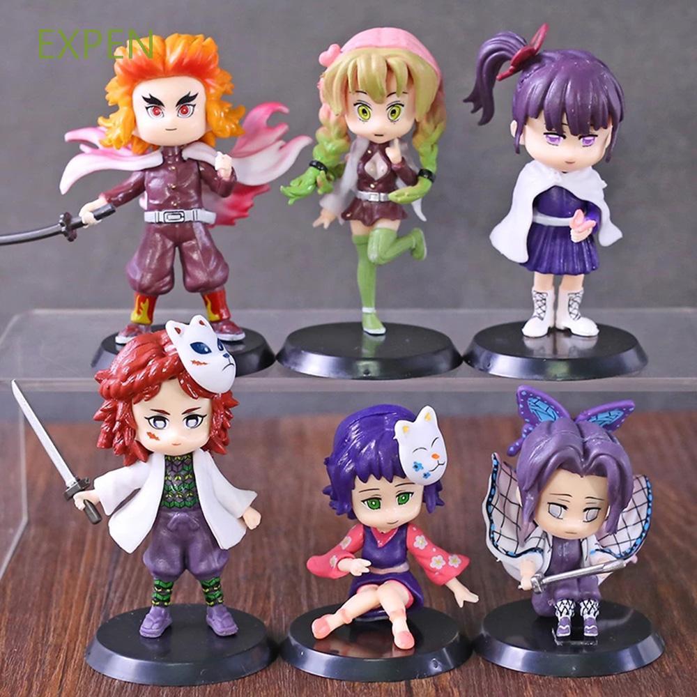 EXPEN PVC Demon Slayer Q Posket Collectible Model Anime Figure Model Tanjirou Nezuko Kochou Shinobu 6pcs/set Zenitsu Kyoujurou Action Figure Toys