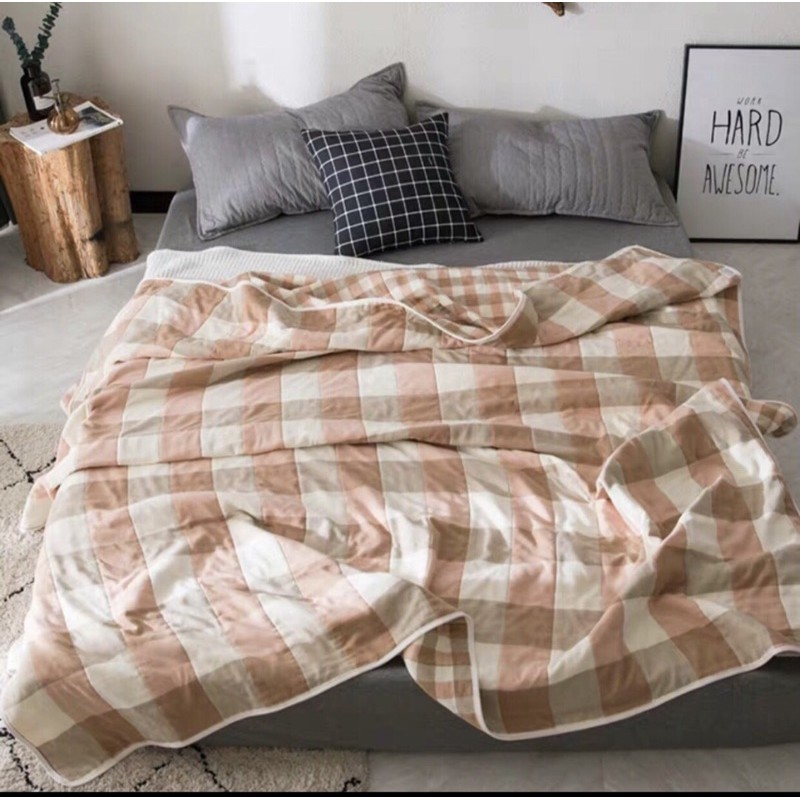 ผ้าห่มสาลูทอ 6 ชั้น มีลาย2ด้าน ขนาด6ฟุต