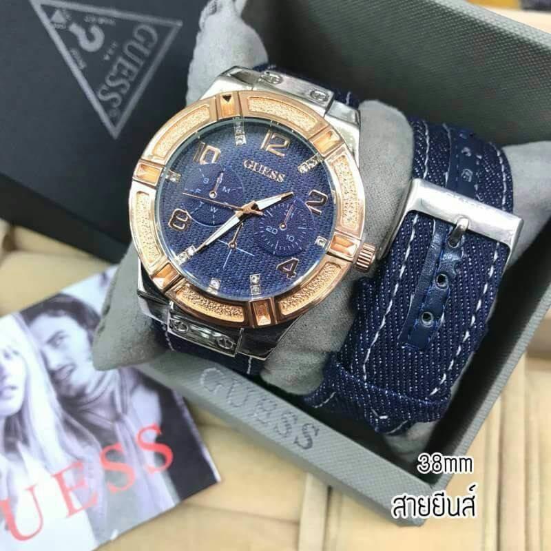 นาฬิกา Guess - Guess Watch นาฬิกาข้อมือผู้หญิง สายผ้ายีนส์ by W12Shop มีชำระเงินปลายทาง