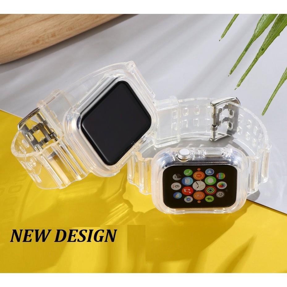 สาย AppleWatch สายนาฬิกา Apple Watch Series สายรัดใส 6/5/4/3/2/1, SE หัวเข็มขัดตัวเดิมของ เข็มกลัดผีเสื้อสายโลหะ iWatch